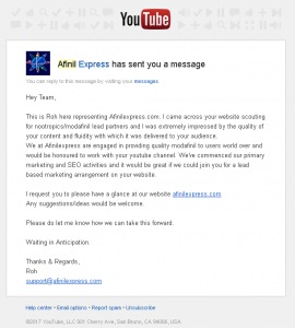 afinil express you tube message